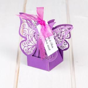 Marturii cutiute nunta fluture mov