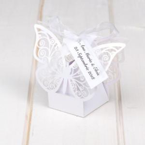 Marturii nunta cutiute fluture alb
