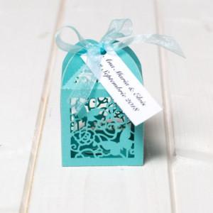 Marturii botez cutiute laser cut cu fluturas bleu