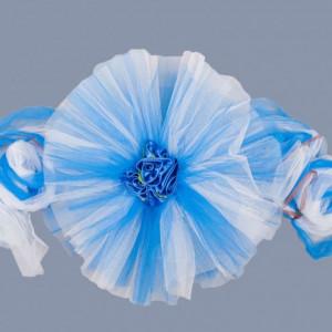Decor masini nunta tulle albastru si trandafiri