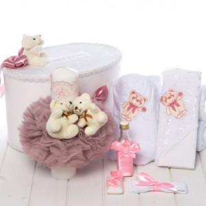 Set cutie de dar, trusou si lumanare botez roz pudra cu ursuleti pentru fetite
