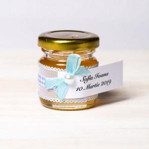 Marturii botez borcanele miere cu decor in alb si bleu