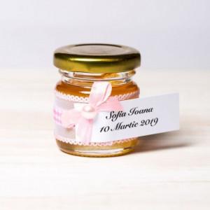 Marturii botez borcanele miere cu decor in alb si roz