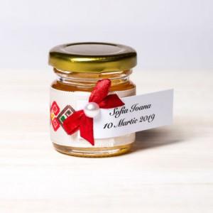 Marturii borcanele miere botez model popular si fundita grena