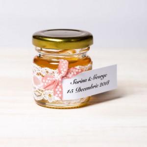 Marturii botez borcanele miere cu fundita roz pudra si buline albe
