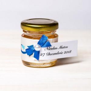 Marturii botez borcanele miere cu model floral si fundita albastra