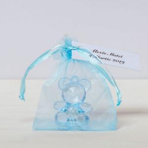 Marturii botez ursuleti bleu plastic
