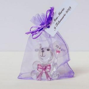 Marturii botez ursuleti sticla roz in saculet