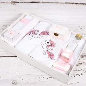 Trusou botez cu satin roz si unicorn pentru fetite