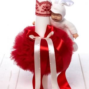 Lumanare botez cu tulle rosu si bebelus