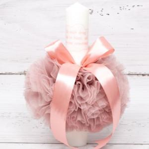 Lumanare botez decor roz pudra Cu mult drag de la nasi