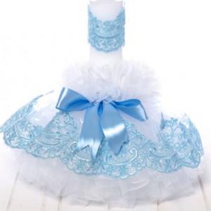 Lumanare botez tulle alb si dantela bleu