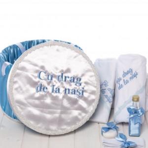 Set botez bleu trusou si cutie Cu drag de la nasi