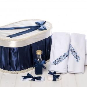 Set botez cutie bleumarin si trusou traditional