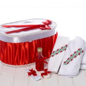 Set botez cutie rosie si trusou traditional