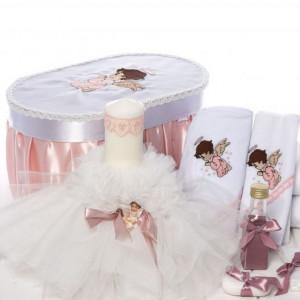 Set botez ingeras cutie, trusou si lumanare cu alb si roz pudra