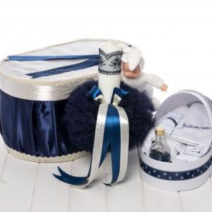 Set bleumarin botez cutie, trusou si lumanare botez