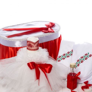 Set botez traditional cutie, trusou si lumanare fete
