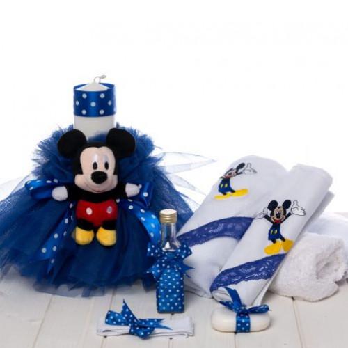 Set botez baieti lumanare si trusou Mickey Mouse