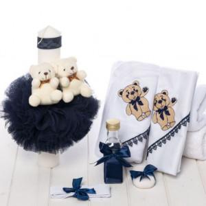 Set botez bleumarin lumanare si trusou cu ursuleti
