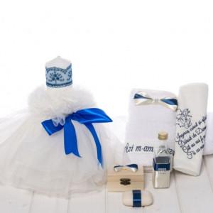 Set botez lumanare panglica albastra si trusou cu fundite si rugaciune