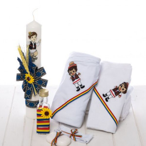 Set trusou rustic lumanare model iuta cu spice de grau si trusou baieti, tricolor si floarea-soarelui