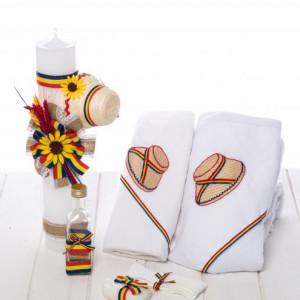 Set botez trusou si lumanare cu clop si tricolor