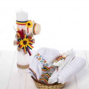 Set botez traditional lumanare clop, floarea-soarelui si trusou tricolor
