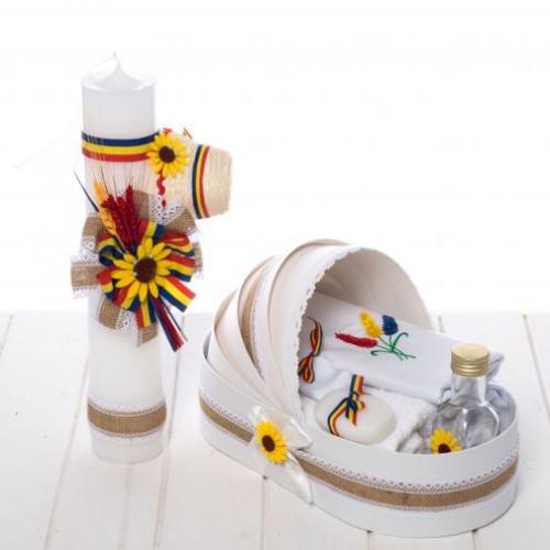 Set botez rustic lumanare clop si trusou iuta, tricolor, spice de grau