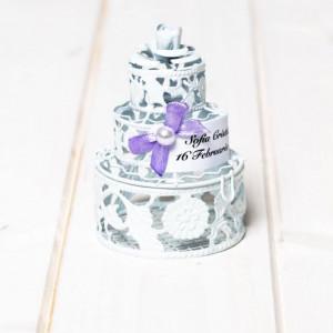Marturii botez tort alb din sarma