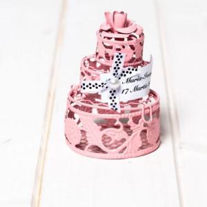 Marturii botez tort roz din sarma