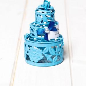Marturii botez tort bleu din sarma