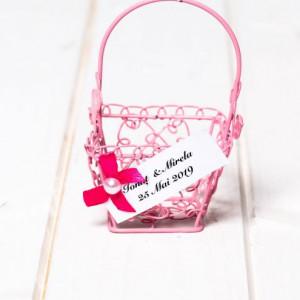 Marturii nunta cosulet sarmulita roz