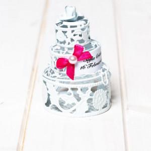 Marturii nunta tort alb din sarma