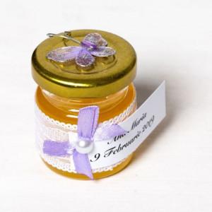 Marturii borcanele miere botez cu fluture lila