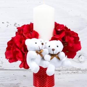 Lumanare botez cu flori rosii, banda rosie cu buline si ursuleti plus