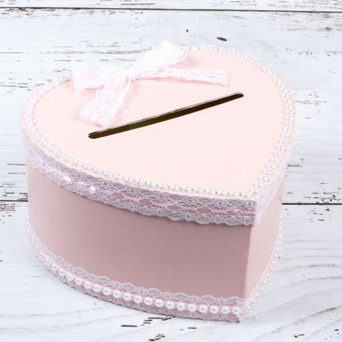 Cutie de dar nunta inima roz