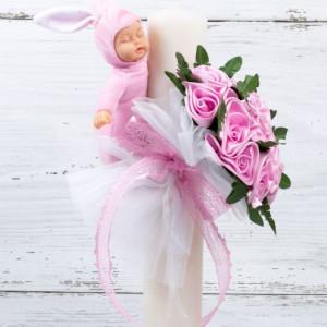Lumanare botez buchet trandafiri roz, bebelus si panglica dantela roz
