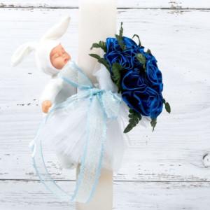 Lumanare botez buchet trandafiri albastri, bebelus alb si panglica bleu dantela