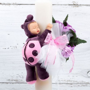Lumanare botez buchet trandafiri lila cu tulle alb, buburuza si panglica dantela roz