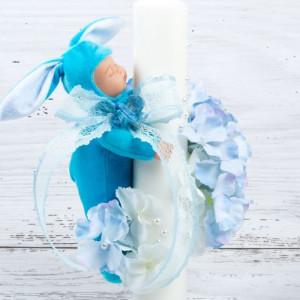 Lumanare botez cu flori, bebelus si panglica bleu