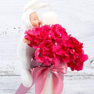 Lumanare botez flori roz fucsia si bebelus alb