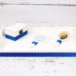 Set tavita mot/turta decor albastru cu buline albe