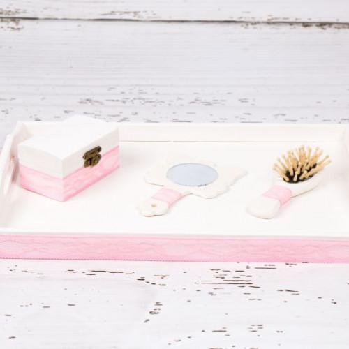 Set tavita mot cu dantela roz