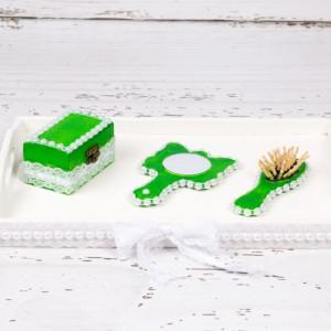 Set tavita mot baieti verde cu perlute
