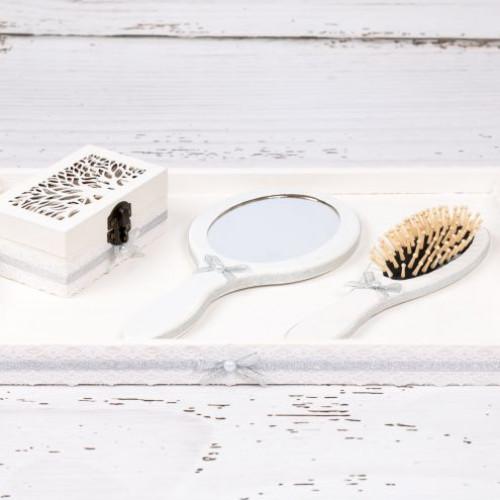 Set gatitul miresei cu decor alb-argintiu