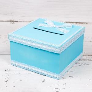 Cutie dar nunta bleu cu dantela alba si perlute