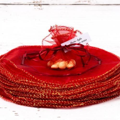 Saculeti rotunzi grena nunta cu fir auriu