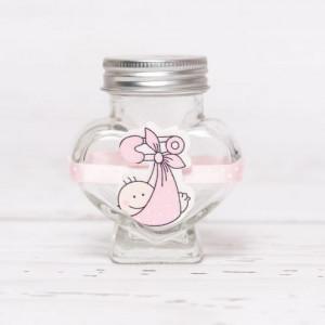 Sticluta de mir inima cu figurina bebelus roz