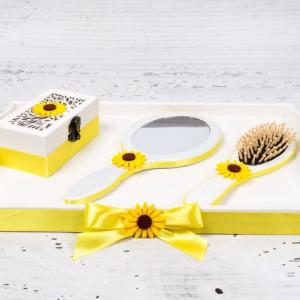 Set gatitul miresei cu decor galben si floarea-soarelui